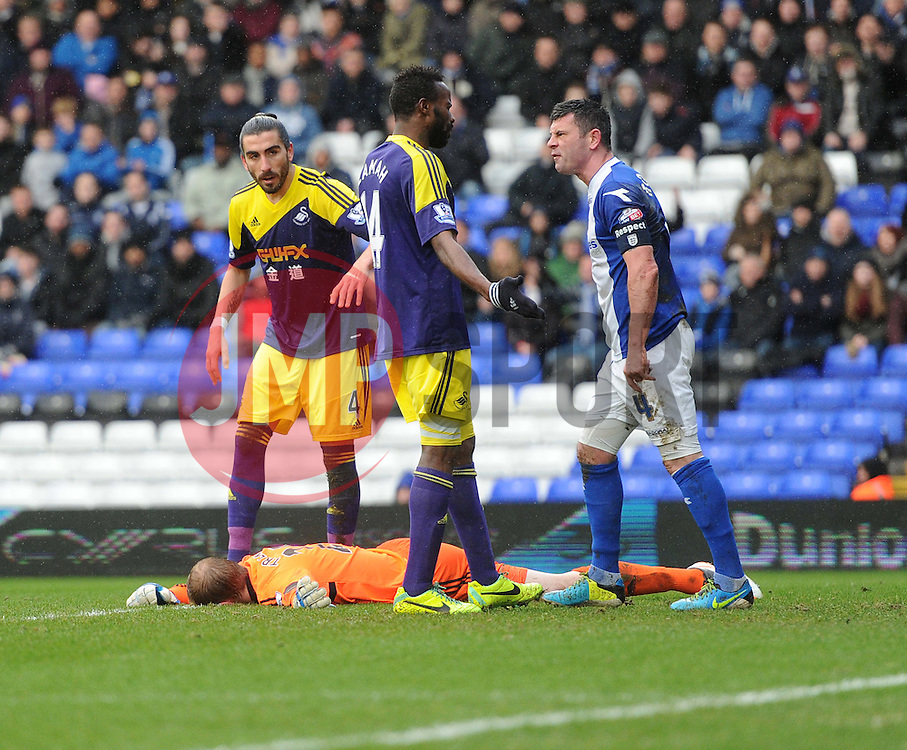Birmingham City's Paul Robinson has words with Swansea City's Roland Lamah - Photo mandatory by-line: Alex James/JMP - Tel: Mobile: 07966 386802 25/01/2014 - SPORT - FOOTBALL - St Andrew's - Birmingham - Birmingham City v Swansea City - FA Cup - Forth Round
