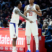 08 January 2018: LA Clippers guard Lou Williams (23) talks to LA Clippers forward Wesley Johnson (33) during the LA Clippers 108-107 victory over the Atlanta Hawks, at the Staples Center, Los Angeles, California, USA.