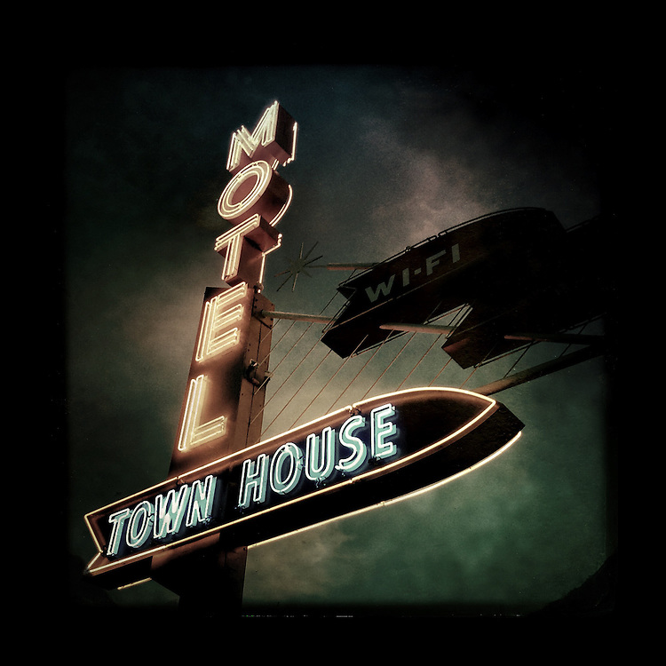 "Charles Blackburn Instagram image of the Town House Motel sign in Longview, WA. 5x5"" print."