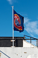 Picture by Ian Wadkins/Focus Images Ltd +44 7877 568959<br /> 25/07/2013<br /> The UEFA flag flies at Belle Vue stadium ahead  the second leg of the UEFA Europa League round two qualifying match at Belle Vue Stadium, Rhyl.