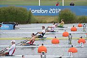 Eton Dorney, Windsor, Great Britain,..2012 London Olympic Regatta, Dorney Lake. Eton Rowing Centre, Berkshire[ Rowing]...Description: Start Men's single Sculls BEL M1X NZL M1X CRO M1X    11:02:02  Tuesday  31/07/2012.[Mandatory Credit: Peter Spurrier/Intersport Images].