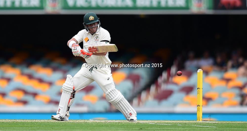 David Warner of Australia batting on Day Three, 7 November 2015. New Zealand Black Caps tour of Australia, 1st test at Brisbane 5-9 November 2015. Copyright photo: www.photosport.nz
