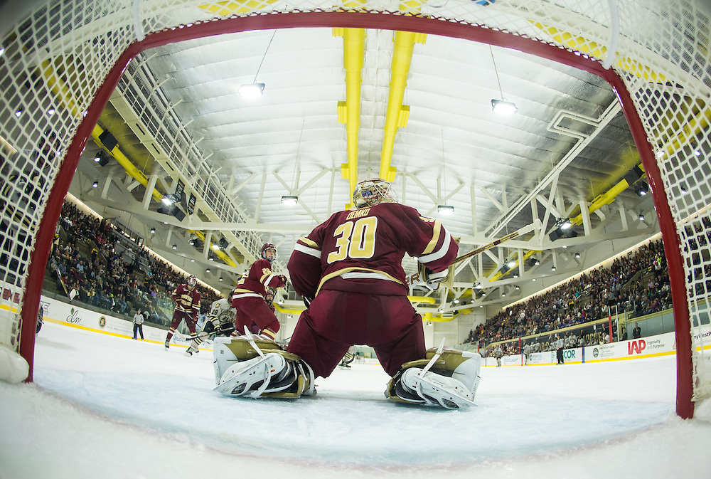Boston College Goalkeeper Thatcher Demko (30) makes a save during the second period of a NCAA hockey game between Army and Boston College at Tate Rink on October 9, 2015 in West Point, New York. (Dustin Satloff)
