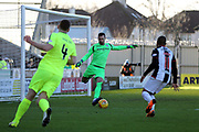 Hibernian goalkeeper Ofir Marciano (1) clears the ball from danger during the Ladbrokes Scottish Premiership match between St Mirren and Hibernian at the Paisley 2021 Stadium, St Mirren, Scotland on 27 January 2019.
