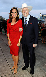 Linda Grey and Larry Hagman  arriving at the launch of the new series of Dallas in London, Tuesday, August 21st 2012. .Photo by:  i-Images