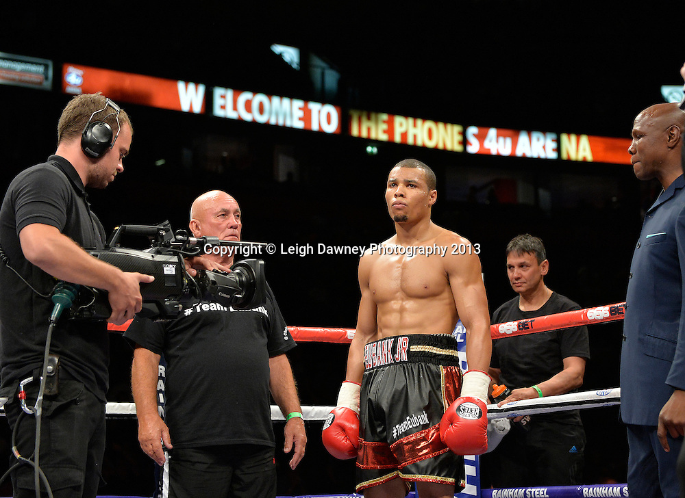 Chris Eubank Jnr displays no emotion before fighting Ivan Jukic in a middleweight contest on 26th July 2014 at the Phones 4U Arena, Manchester. Promoted by Frank Warren. © Credit: Leigh Dawney Photography.