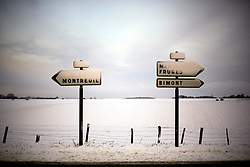 30 January 2019. Pas de Calais, France.<br /> Snow falls on the hills of Hauts de France in the villages close to Montreuil Sur Mer.<br /> Photo&copy;; Charlie Varley/varleypix.com