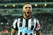 Jamaal Lascelles (#6) of Newcastle United celebrates Newcastle United's first goal (1-0) during the Premier League match between Newcastle United and Burnley at St. James's Park, Newcastle, England on 31 January 2018. Photo by Craig Doyle.