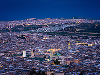 FEZ, MOROCCO - CIRCA MAY 2018:  Aerial view of the Medina in Fez during blue hour