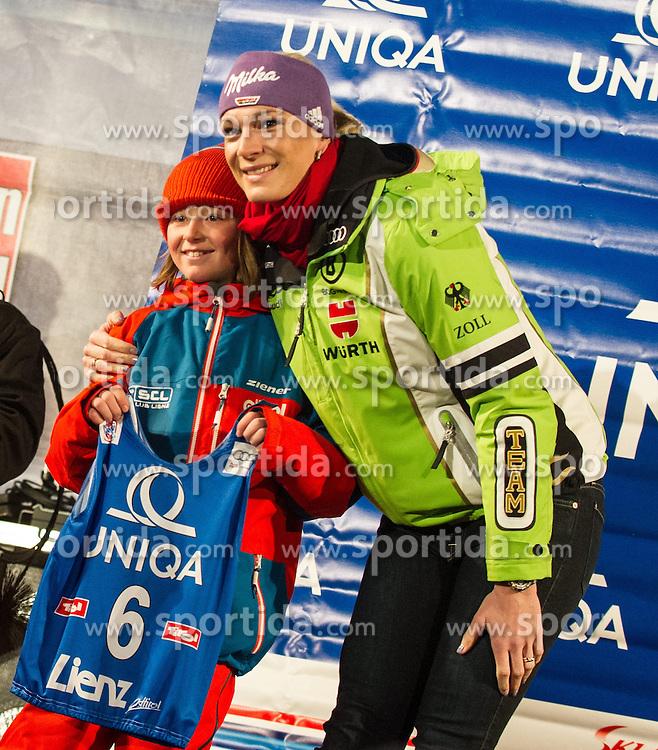 28.12.2013, Hauptplatz, Lienz, AUT, FIS Weltcup Ski Alpin, Lienz, Damen, Siegerehrung Riesentorlauf mit anschließender Auslosung der Startnummern fuer Slalom, im Bild Maria Hoefl-Riesch (GER) // during the victory ceremony of the giant slalom and the bip draw for slalom, Lienz FIS Ski Alpine World Cup at Hautpplatz in Lienz, Austria on 2013/12/28, EXPA Pictures © 2013 PhotoCredit: EXPA/ Michael Gruber