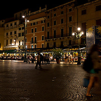 Night View of Piazza Bra in Verona.Verona is a city in Veneton, Northern Italy home to approx. 265,000 inhabitants and one of the seven provincial capitals of the region. Verona has Roman origins and  derived importance from being at the intersection of many roads. It is world famous for the Arena and its Opera....***Agreed Fee's Apply To All Image Use***.Marco Secchi /Xianpix. tel +44 (0) 207 1939846. e-mail ms@msecchi.com .www.marcosecchi.com