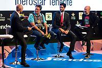 Sport journalist Antonio Lobato, Ex basketball player Carmelo Cabrera, Iberostar Tenerife player Javier Beirán and comedian Goyo Jimenez during the presentation of the new season of La Liga Endesa 2016-2017 in Madrid. September 20, 2016. (ALTERPHOTOS/Borja B.Hojas)