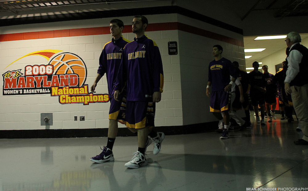 December 28, 2011; Baltimore, MD, USA; Albany Great Danes in the tunnel against the Maryland Terrapins during the pre-game warmups at the Comcast Center in College Park, MD. Brian Schneider-www.ebrianschneider.com