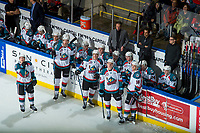 KELOWNA, CANADA - DECEMBER 30: Gordie Ballhorn #4, Braydyn Chizen, Leif Mattson, Nolan Foote and Carsen Twarynski #18 of the Kelowna Rockets stand on the ice and watch the replay of a goal challenge against the Victoria Royals on December 30, 2017 at Prospera Place in Kelowna, British Columbia, Canada.  (Photo by Marissa Baecker/Shoot the Breeze)  *** Local Caption ***