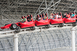 Roller coaster at Ferrari World theme park in Abu Dhabi UAE United Arab Emirates