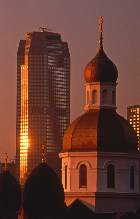 St. Johns Church and Mellon skyscraper on Pittsburgh skyline, Pennsylvania Pittsburgh PA