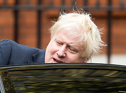 © Licensed to London News Pictures. 21/09/2017. London, UK. British Foreign Secretary BORIS JOHNSON seen leaving Westminster home ahead of a cabinet meeting. Boris Johnson and British prime minister Theresa May recently returned from a trip to New York, during which there were rumours Boris Johnson would quit his government roll over Theresa May's approach to Brexit. Photo credit: Ben Cawthra/LNP