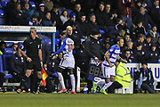 Reading Modou Barrow (17) replaced by Reading Roy Beerens (7) second half during the EFL Sky Bet Championship match between Reading and Sheffield Wednesday at the Madejski Stadium, Reading, England on 25 November 2017. Photo by Gary Learmonth.