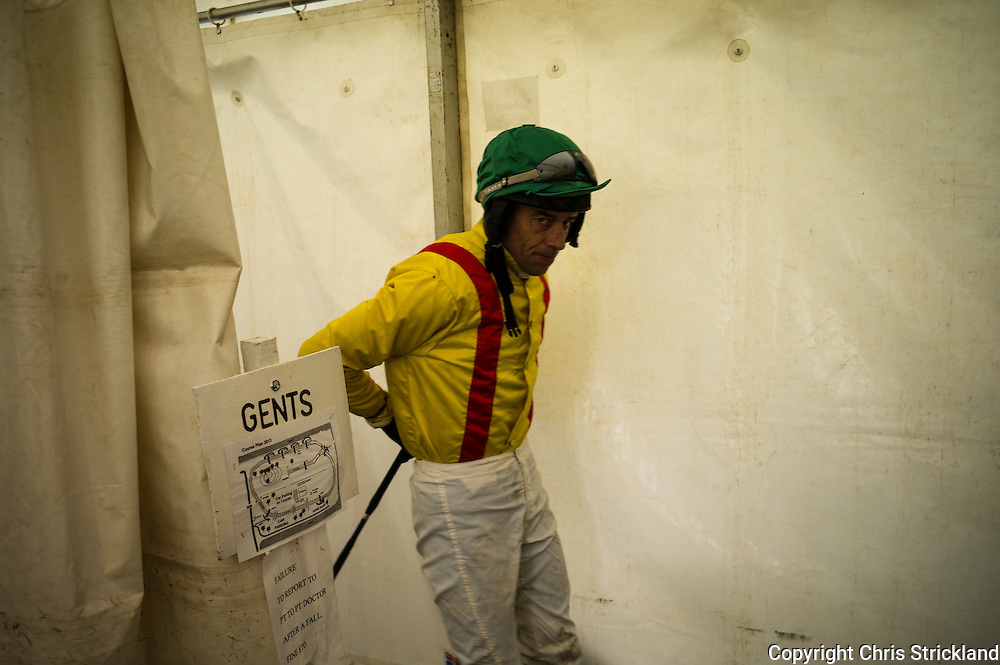 Captain John's jockey gets ready for the Restricted race at the Jedforest point-to-point 2013.
