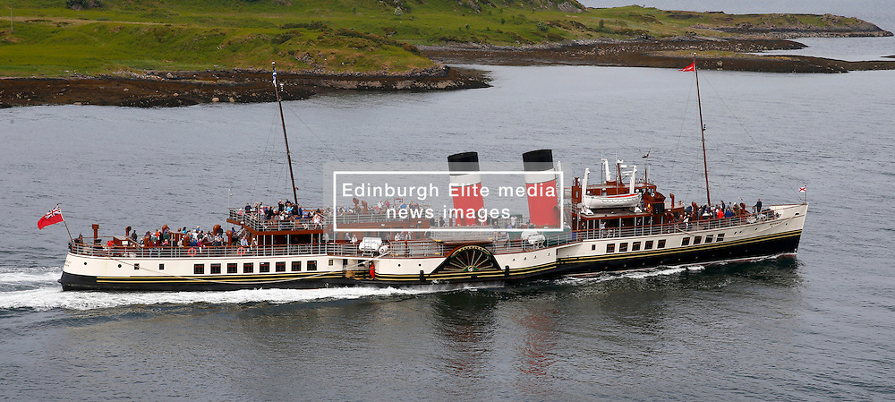 Waverley is one of the world's greatest historic ships – the last sea-going paddle steamer in the world. Waverley starts her season sailing amidst the stunning scenery of the Western Isles . Seen here departing Oban for Armadale and Inverie (c) Stephen Lawson   Edinburgh Elite media