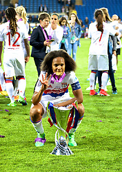 CARDIFF, WALES - Thursday, June 1, 2017: Olympique Lyonnais' Wendie Renard celebrates with the trophy after winning the UEFA Champions League following a penalty-shoot out victory during the UEFA Women's Champions League Final between Olympique Lyonnais and Paris Saint-Germain FC at the Cardiff City Stadium. (Pic by David Rawcliffe/Propaganda)