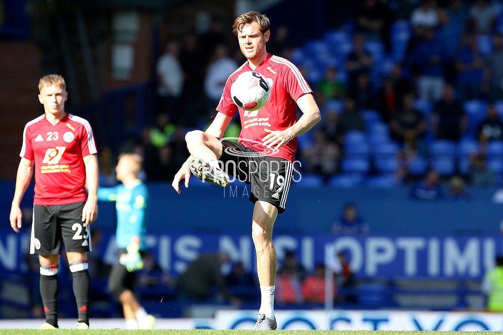 Sheffield United defender Richard Stearman (19) warming up during the Premier League match between Everton and Sheffield United at Goodison Park, Liverpool, England on 21 September 2019.