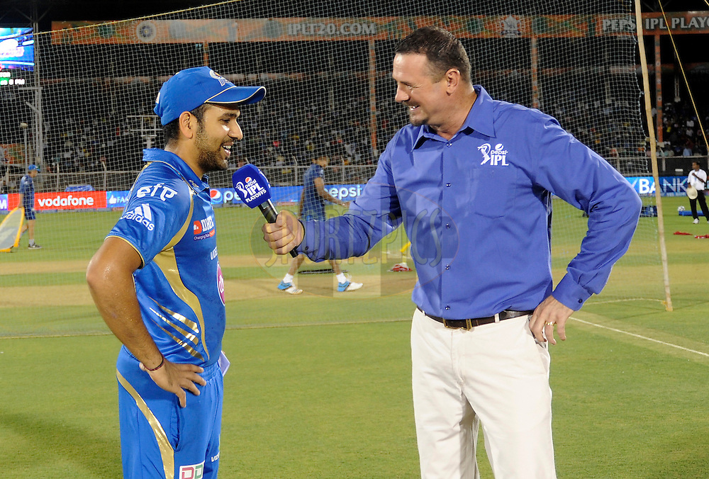 Rohit Sharma captain of the Mumbai Indians during the toss before the start of the eliminator match of the Pepsi Indian Premier League Season 2014 between the Chennai Superkings and the Mumbai Indians held at the Brabourne Stadium, Mumbai, India on the 28th May  2014<br /> <br /> Photo by Pal PIllai / IPL / SPORTZPICS<br /> <br /> <br /> <br /> Image use subject to terms and conditions which can be found here:  http://sportzpics.photoshelter.com/gallery/Pepsi-IPL-Image-terms-and-conditions/G00004VW1IVJ.gB0/C0000TScjhBM6ikg
