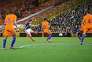 9th November 2017, Pittodrie Stadium, Aberdeen, Scotland; International Football Friendly, Scotland versus Netherlands; Scotland's John McGinn fires a shot just wide