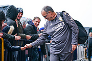 Marcelo Bielsa of Leeds United (Manager) arrives at the ground during the EFL Sky Bet Championship match between Leeds United and Queens Park Rangers at Elland Road, Leeds, England on 2 November 2019.