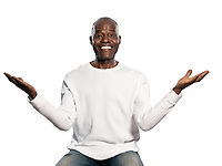 Portrait of a happy afro American man with an amazed expression in studio on white isolated background