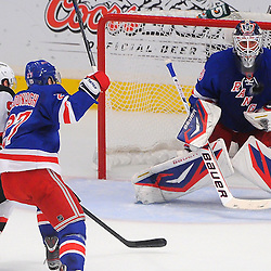 May 16, 2012: New York Rangers goalie Henrik Lundqvist (30) makes a save during first period action in game 2 of the NHL Eastern Conference Finals between the New Jersey Devils and New York Rangers at Madison Square Garden in New York, N.Y.