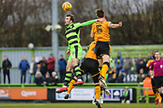 Forest Green Rovers Christian Doidge(9) heads the ball during the EFL Sky Bet League 2 match between Forest Green Rovers and Cambridge United at the New Lawn, Forest Green, United Kingdom on 20 January 2018. Photo by Shane Healey.