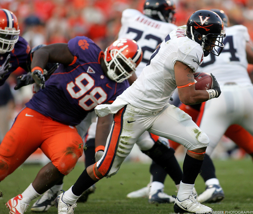 Nov 21, 2009; Clemson, SC, USA; Virginia Cavaliers running back Mikell Simpson (5) on a rushing play against the Clemson Tigers during the second quarter at Memorial Stadium. Mandatory Credit: Brian Schneider-www.ebrianschneider.com