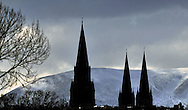 St Mary's Cathedral silhouetted against the Pentland Hills. First published in Evening News<br />
