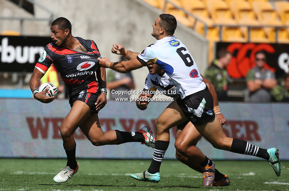 NZ Warriors player Dominique Peyroux  in action  during the NSW Cup Match  between the NZ Warriors and the Wentworthville Magpies played at Mt Smart Stadium in South Auckland on the 21st March 2015. <br /> <br /> Copyright Photo; Peter Meecham/ www.photosport.co.nz