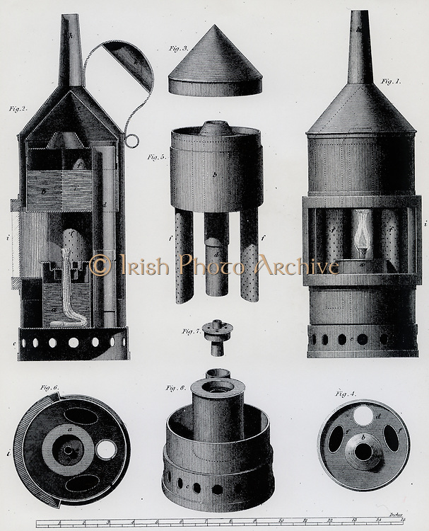 Clanny's steam miner's safety lamp,  1816.