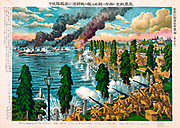 Illustration of the Siberian War:  Fighting between  Japanese cavalry and Russian warships, 1918.  In July Japan landed 72,000 troops at Vladivostock and spread through claiming Eastern Siberia as part of Japan.  Chromolithograph 1919