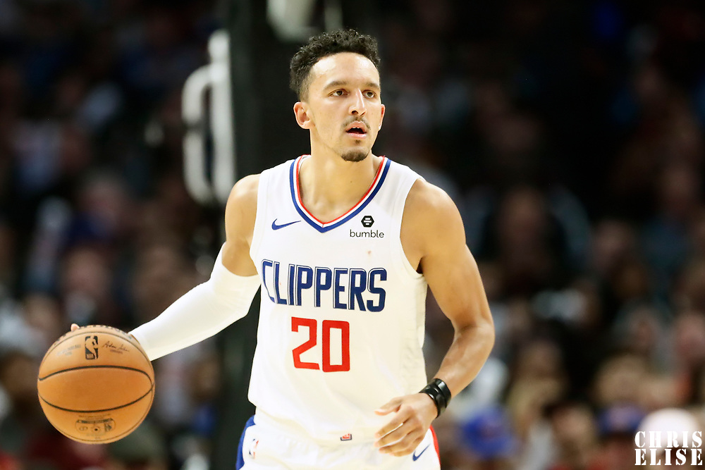 LOS ANGELES, CA - OCT 28: Landry Shamet (20) of the LA Clippers brings the ball up court during a game on October 28, 2019 at the Staples Center, in Los Angeles, California.