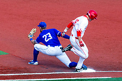 NORMAL, IL - May 01: Derek Parola is called out by an eyelash as Dane Tofteland handles the put out throw from 2nd base during a college baseball game between the ISU Redbirds and the Indiana State Sycamores on May 01 2019 at Duffy Bass Field in Normal, IL. (Photo by Alan Look)