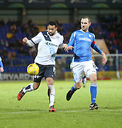 Dundee&rsquo;s Kane Hemmings and St Johnstone&rsquo;s David Mackay - St Johnstone v Dundee, Ladbrokes Scottish Premiership at McDiarmid Park<br /> <br />  - &copy; David Young - www.davidyoungphoto.co.uk - email: davidyoungphoto@gmail.com