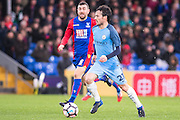 Crystal Palace midfielder James McArthur (18), Manchester City midfielder David Silva (21) during the The FA Cup 4th round match between Crystal Palace and Manchester City at Selhurst Park, London, England on 28 January 2017. Photo by Sebastian Frej.