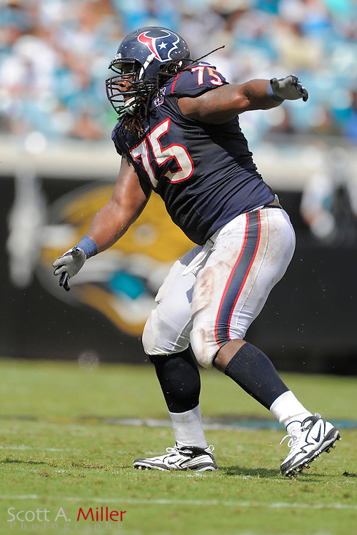 Houston Texans tackle Derek Newton (75) during the NFL game between the Texans and the Jacksonville Jaguars at EverBank Field on September 16, 2012 in Jacksonville, Florida. The Texans won 27-7...©2012 Scott A. Miller.