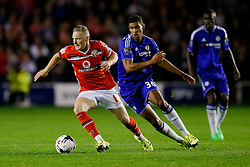 Sam Mantom of Walsall is challenged by Ruben Loftus-Cheek of Chelsea - Mandatory byline: Rogan Thomson/JMP - 07966 386802 - 23/09/2015 - FOOTBALL - Bescot Stadium - Walsall, England - Walsall v Chelsea - Capital One Cup.