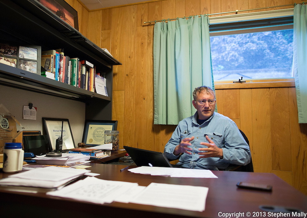 Owner Kyle Pattison talks inside his office at Pattison Sand Company in Garnavillo, Iowa on June 5, 2013.