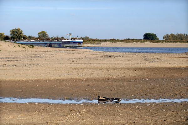 Nederland, the netherlands, Nijmegen, 13-10-2018 Door de aanhoudende droogte staat het water in de rijn, ijssel en waal extreem laag . 6 meter en 86 cm. Zicht vanuit de drooggevallen inlaat van de Nevengeul, Spiegelwaal richting de rivier die erg laag staat . Schepen moeten minder lading innemen om niet te diep te komen . Hierdoor is het drukker in de smallere vaargeul . Door te weinig regenval in het stroomgebied van de rijn is het record van 6,89 meter uit november 2011verbroken . Foto: Flip Franssen