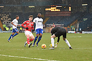 Bury Goalkeeper, Ian Lawlor gathers the ball from an incoming Walsall attack during the Sky Bet League 1 match between Bury and Walsall at Gigg Lane, Bury, England on 16 January 2016. Photo by Mark Pollitt.