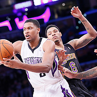 28 February 2014: Sacramento Kings small forward Rudy Gay (8) passes the ball during the Los Angeles Lakers 126-122 victory over the Sacramento Kings at the Staples Center, Los Angeles, California, USA.
