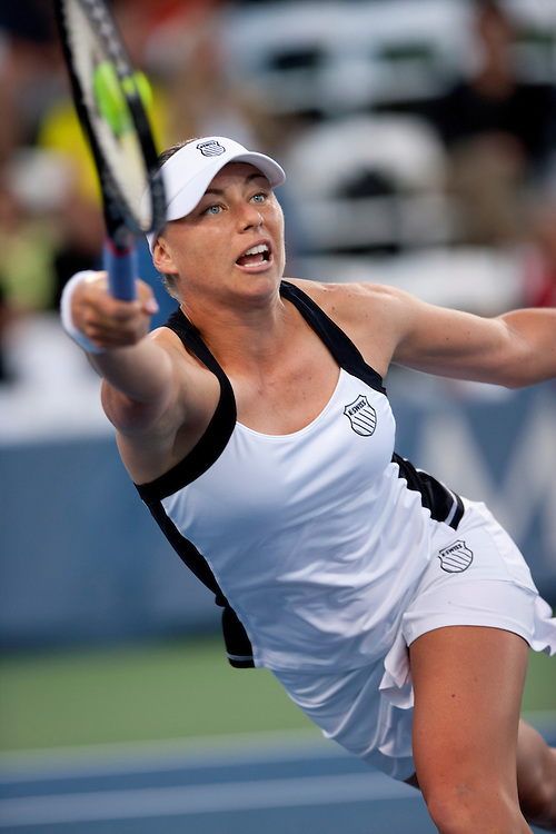 San Diego, CA; August 6th, 2011 - Vera Zvonareva  returns a ball  against  opponent Ana Ivanovic in the Mercury Insurance WTA tennis tournament held at the La Costa Spa and Resort near San Diego. Zvonareva won the match 5-7 6-4 6-4. Photo by Wally Nell/ZUMA Press