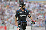 New Zealand Brendon McCullum is out for 39 and walks to the pavilion during the Royal London One Day International match between England and New Zealand at the Oval, London, United Kingdom on 12 June 2015. Photo by Ellie Hoad.