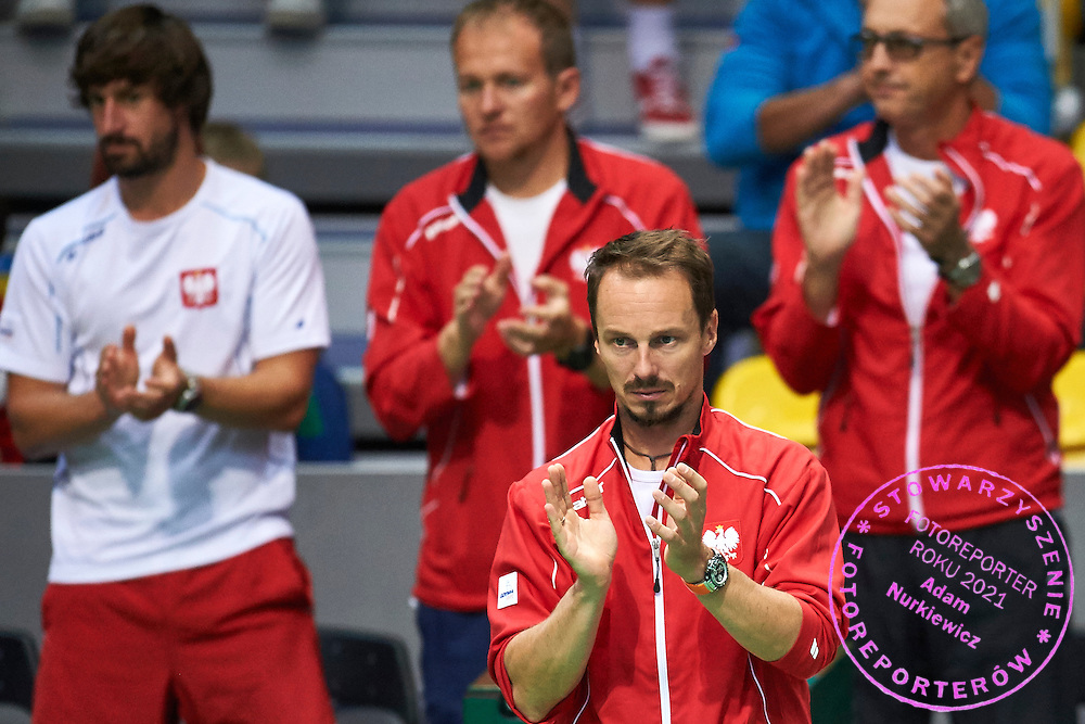 Radoslaw Szymanik - captain national team of Poland supports Michal Przysiezny during Davis Cup Tie World Group Play-off Poland v Slovakia at Gdynia Arena Hall in Gdynia, Poland.<br /> <br /> Poland, Gdynia, September 20, 2015<br /> <br /> Picture also available in RAW (NEF) or TIFF format on special request.<br /> <br /> For editorial use only. Any commercial or promotional use requires permission.<br /> <br /> Adam Nurkiewicz declares that he has no rights to the image of people at the photographs of his authorship.<br /> <br /> Mandatory credit:<br /> Photo by &copy; Adam Nurkiewicz / Mediasport